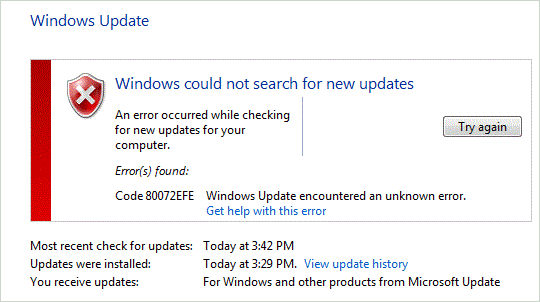 Fix Windows Update 80072efe Error